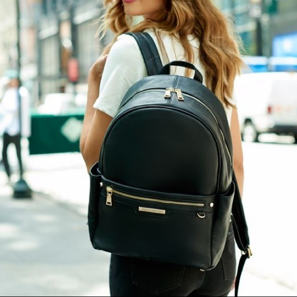 Poppy and peonies vegan black leather backpack